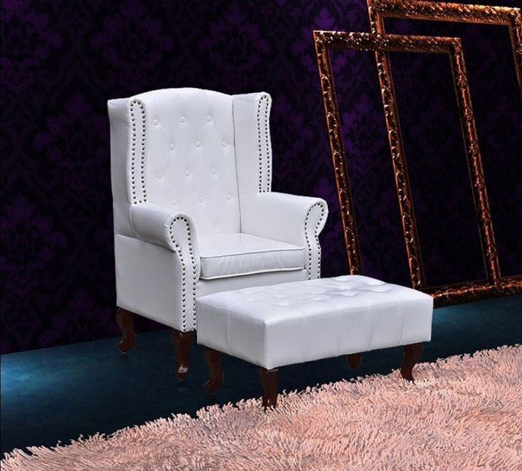Weiß Vintage Ohrensessel Leder Lounge Sessel Chesterfield Clubsessel Stuhl Möbel