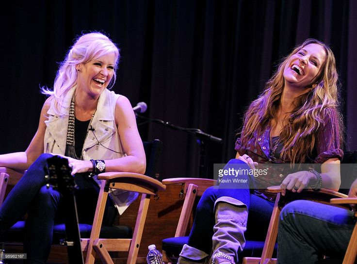 Musicians Martie Maguire (L) and Emily Robison of the Court Yard Hounds answer questions from fans and perform at The GRAMMY Museum on May 10. 2010 in Los Angeles, California.