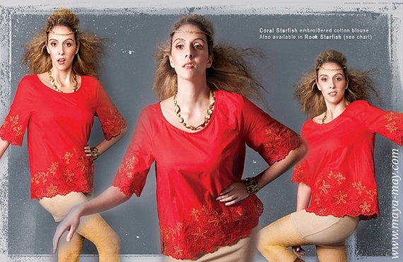 SALE Coral Starfish Blouse AUD125 (originally AUD250) by MayaMayCollection on Etsy, $125.00  Available size: AU/UK10 *Last piece    Photography by: Ernita Siregar /Graphic Design by: Cliff Flo /Model: Gabrielle Hitchcock