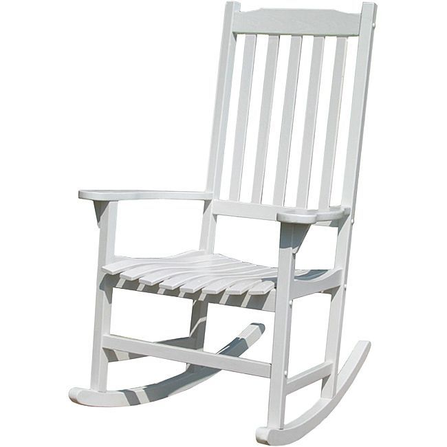 This rocking chair is made out of acacia hardwood and painted white features classic style with a slatted seat and back. The Rocker is suitable for indoor and outdoor use.