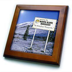 """Alaska, North Slope Borough, Trans-Alaskan Pipeline - US02 PSO0514 - Paul Souders - 8x8 Framed Tile by 3dRose. $22.99. Keyhole in the back of frame allows for easy hanging.. Solid wood frame. Dimensions: 8"""" H x 8"""" W x 1/2"""" D. Cherry Finish. Inset high gloss 6"""" x 6"""" ceramic tile.. Alaska, North Slope Borough, Trans-Alaskan Pipeline - US02 PSO0514 - Paul Souders Framed Tile is 8"""" x 8"""" with a 6"""" x 6"""" high gloss inset ceramic tile, surrounded by a solid wood frame with pre-drilled..."""