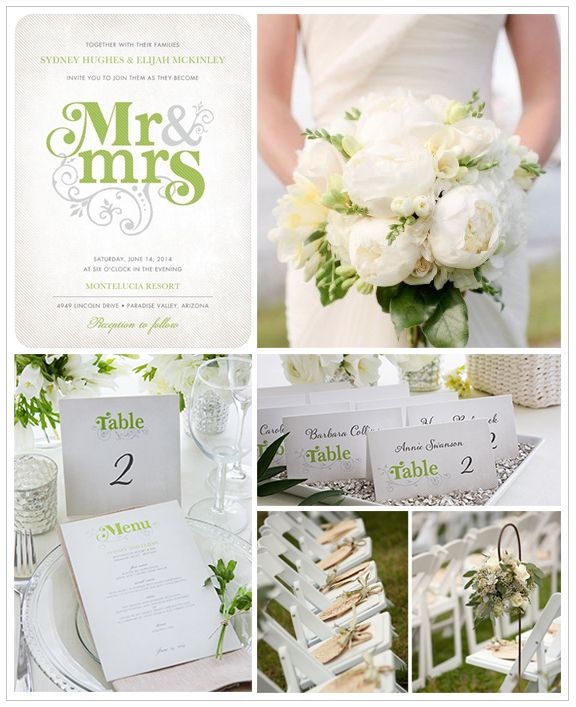 We love a fresh and airy garden party wedding for the warm summer months. Work with light, natural colors and plenty of lush greens for your decor. Find more wedding inspiration boards at www.weddingpaperdivas.com.