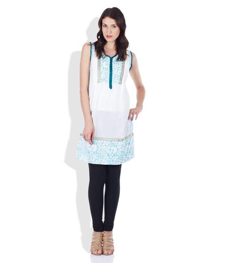 Diya White & Turquoise Cotton Printed Kurta