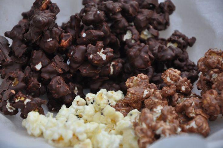 Popkorn med hvid,lys og mørk chokolade, USA,Andet, Lækkeri, Slik, opskrift