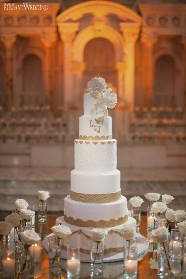 white and gold wedding cake luxurious red wedding in los angeles