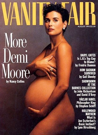 7 months pregnant Demi Moore / Vanity Fair August 1991 cover by Annie Leibovitz