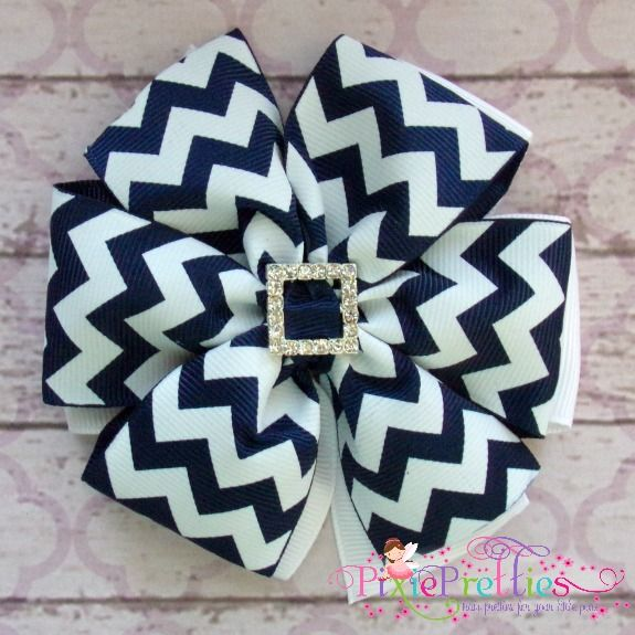 Large Navy Chevron Layered Pinwheel Hair Bow-navy white chevron bow, rhinestones, bling, stripe, layered, stacked, double, back to school, school, uniform, school uniform, girl, basic bow