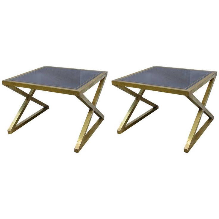 Italian Pair Of Modern X Frame Handcrafted Bronze And Black Low Coffee  Tables