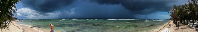 Panoramic view of Storm rolling in along the Riviera Maya in Mexico