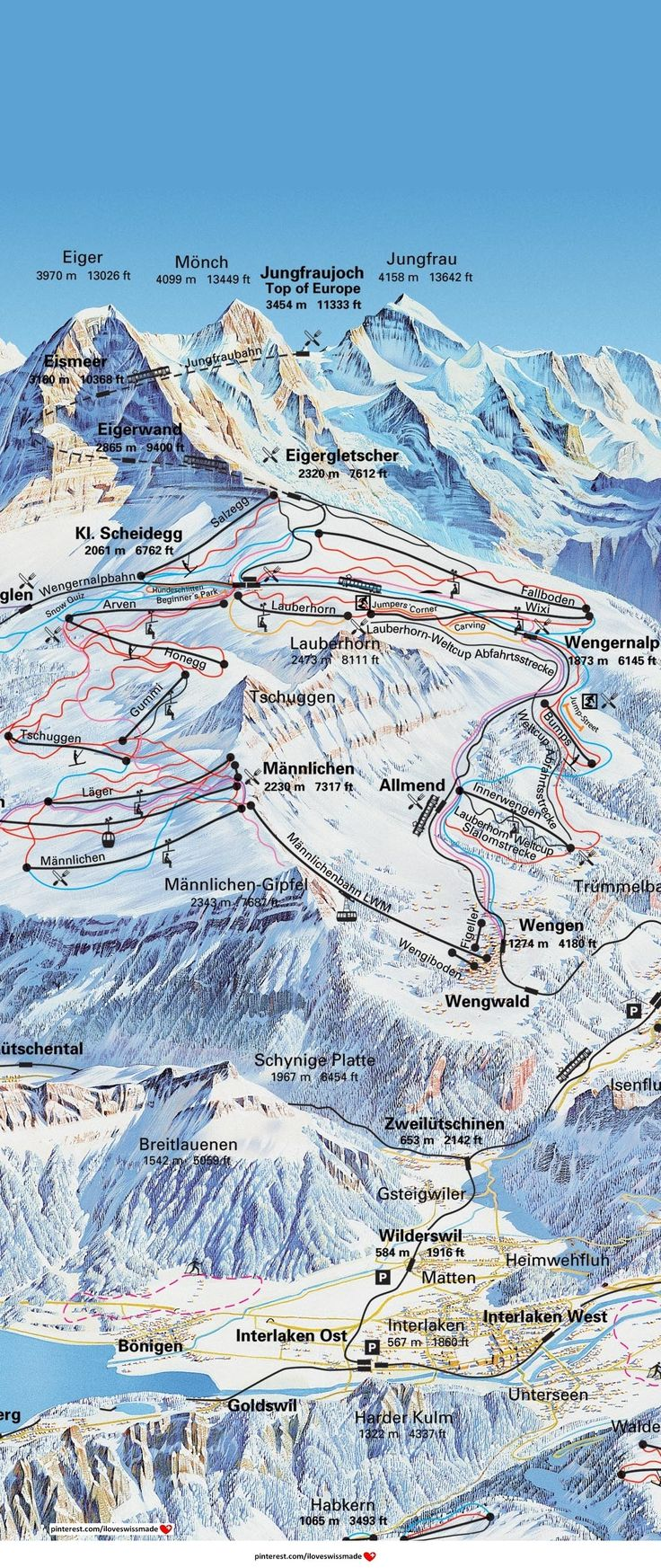 Grindelwald map with some ski-tracks. Note the famous World Cup Lauberhorn (Wengen) Race track (slalom, downhill and Super Combination) ;-)