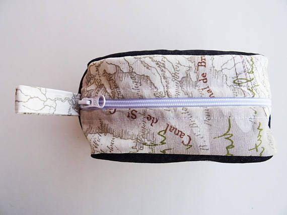 Travel gift idea for real Traveler! Its suitable for everyday use or as a perfect travel accessory!  FABRIC: - denim - microfiber - plastic zip  SIZE: - width: 18 cm / 7 in - height: 13 cm / 5 in - depth (at base): 8 cm / 3 in  CLEANING: = machine wash = NOT bleach = machine dry = iron at