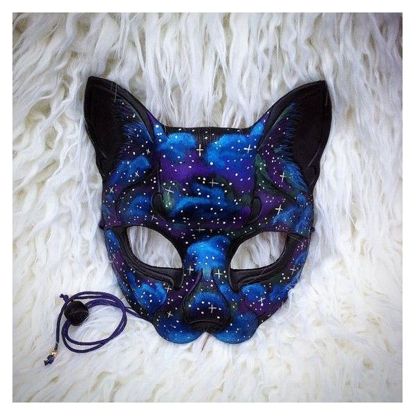 READY TO SHIP Galaxy Cat hand made leather mask masquerade Egyptian... ❤ liked on Polyvore featuring costumes, black cat halloween costumes, cat costumes, masquerade costume, star costume and fancy costumes