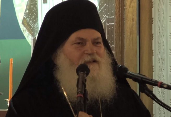 Abbot of Vatopedi Holy Monastery, Mt Athos. Greece, at a Sermon on Lent's Third Sunday Vespers