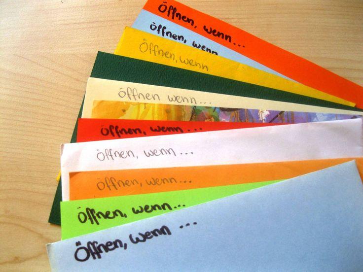 Öffnen wenn... - Briefe sind eine tolle Geschenkidee für einen lieben Menschen, dem ihr das immer schon man sagen wolltet. Im folgenden findet ihr einige Anregungen und genauere Erklärungen. 12 Bri...