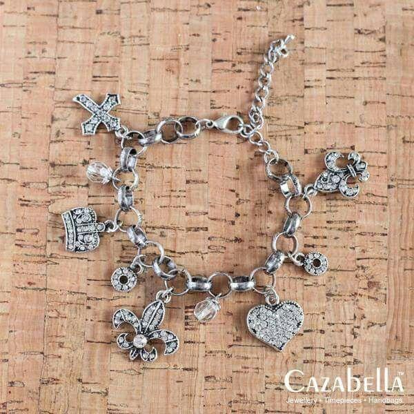 Stunning antique finish charmed bracelet. B004-02 @ R215    #jewelry #fashionista #cazabella #stylish #hearts #crucifix #accessories #trendy ronel.cazabella@yahoo.com