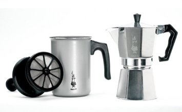Amazon.com: Bialetti Cappuccino and Latte Set: Kitchen & Dining-$28,77-You know you can spend alot trying to get a decent product and I have not been disappointed with the practically inexpensive Bialetti. The first attempt was successful and that told me this was for me....the bonus milk frother made more froth that an old steamer frother I used to have. There are a few tricks with the frother(1% milk by itself not so good but add some half and half to the milk and voile').