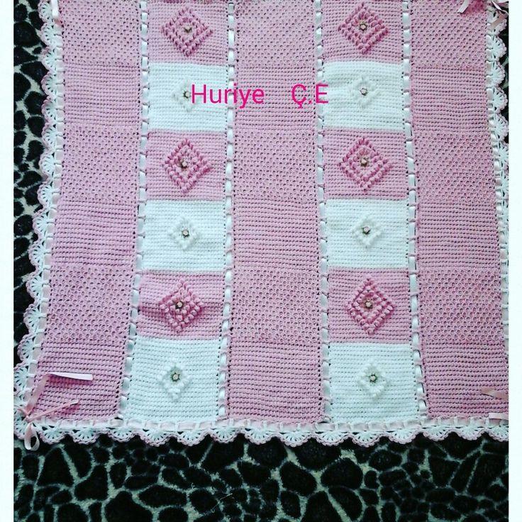 Knitted  bayb blankets  .Tunus işi bebek battaniye  .