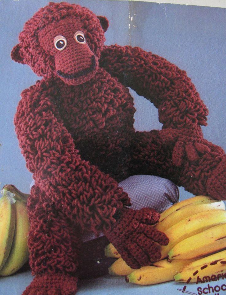 Gorgeous Gorilla Crochet Toy Pattern PDF Instant Download Loop Stitch by TassieVintage on Etsy
