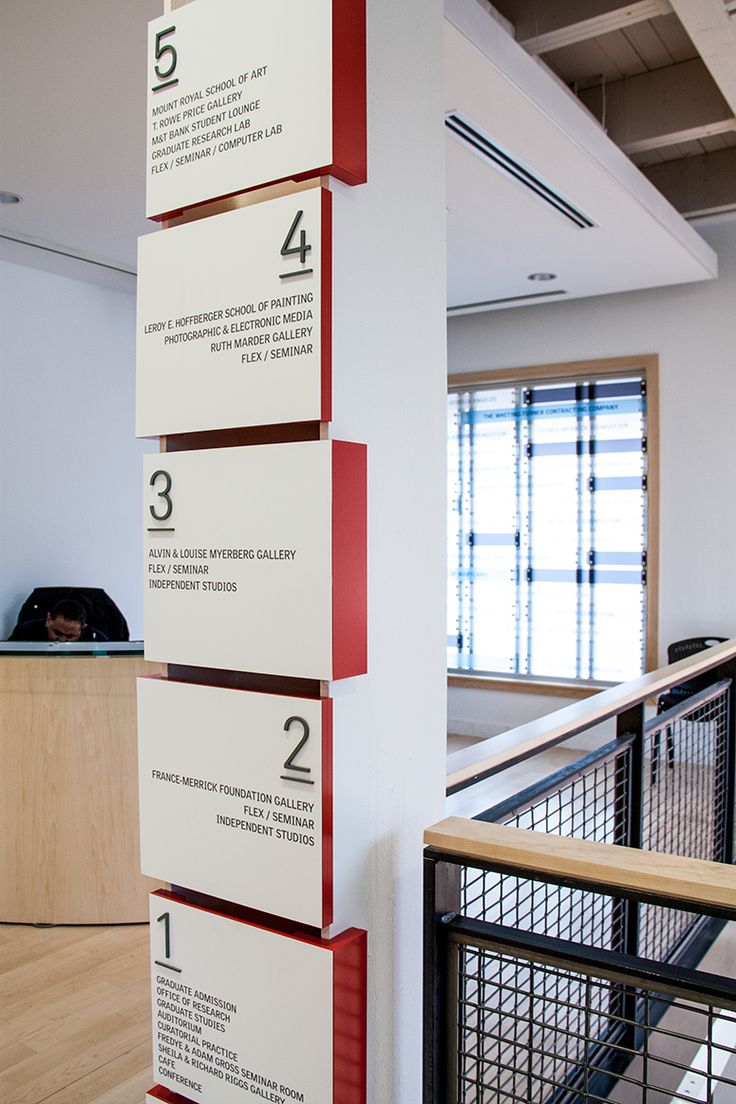 Wall directory at MICA - Maryland Institute College of Art, USA by Ashton Design