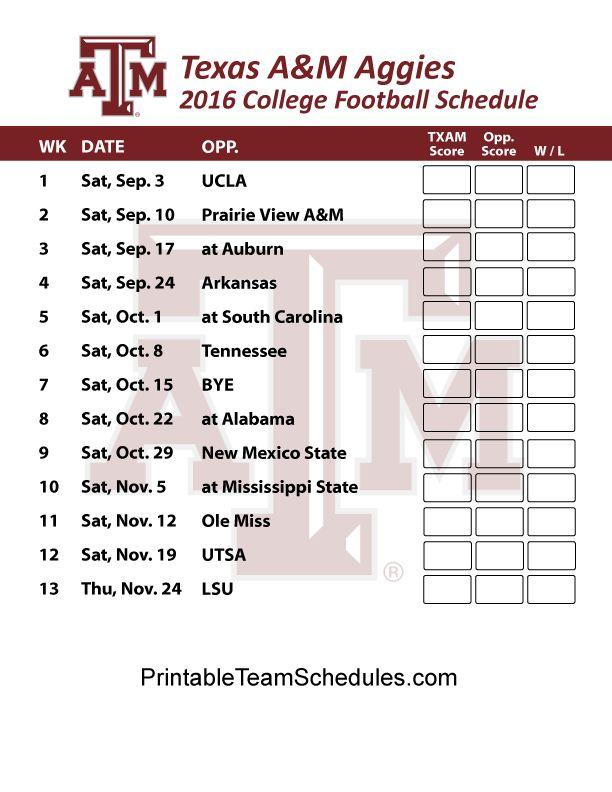 Texas A&M Aggies Football Schedule 2016. Printable Schedule Here - http://printableteamschedules.com/collegefootball/texasamaggies.php