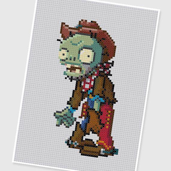 PDF Cross Stitch pattern 0293.Cowboy Zombie (Plants vs Zombies) by PDFcrossstitch