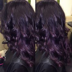Kim's gorgeous dark violet to deep plum hair