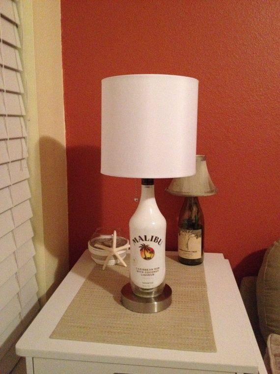 Malibu Liquor Bottle Lamp with Brushed Silver Base  on Etsy, $59.99