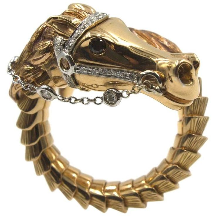 Roberto Coin Diamond Gold Flexible Horse Ring