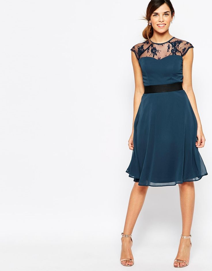 Elise Ryan Midi Prom Dress With Sweetheart Lace Top