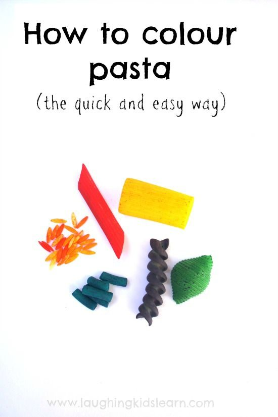 How to colour pasta for play the quick and easy way!
