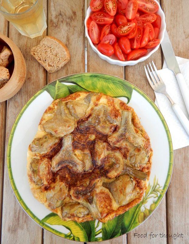 Ομελέτα με αγκινάρες.  http://laxtaristessyntages.blogspot.gr/2015/05/omeleta-me-aginares.html