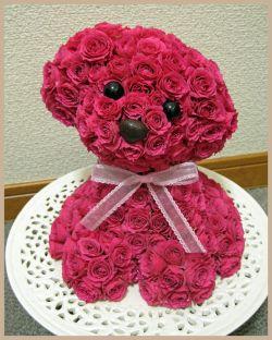 Perrito hecho con rosas fucsia.