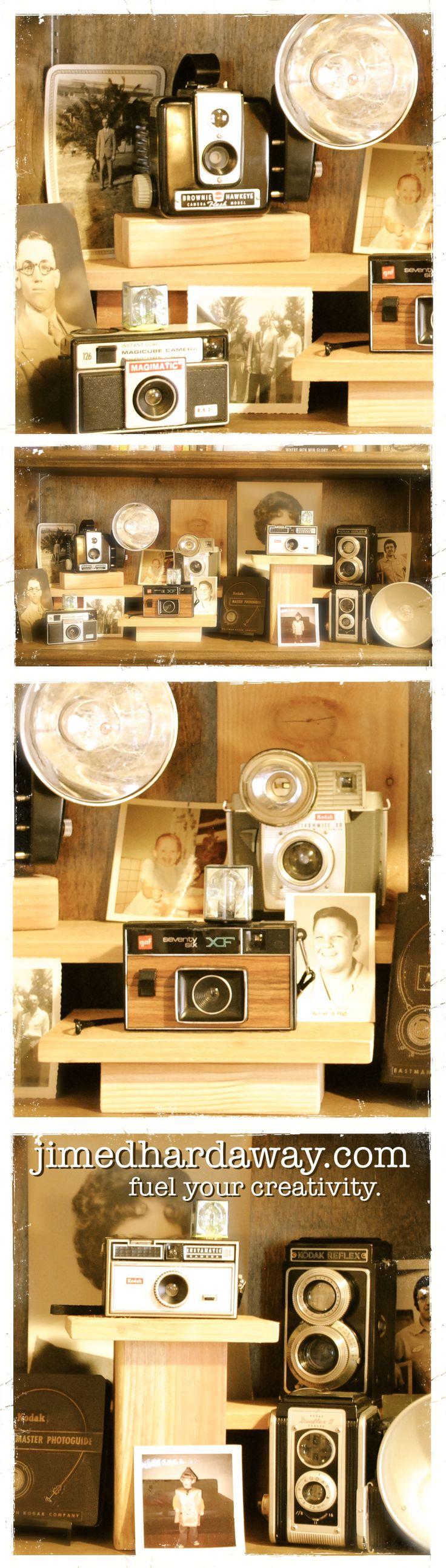 A simple, low-cost way to display your vintage camera collection. Cameras are displayed on scraps of redwood and surrounded with vintage photos. Fuel your creativity at www.jimedhardaway.com!