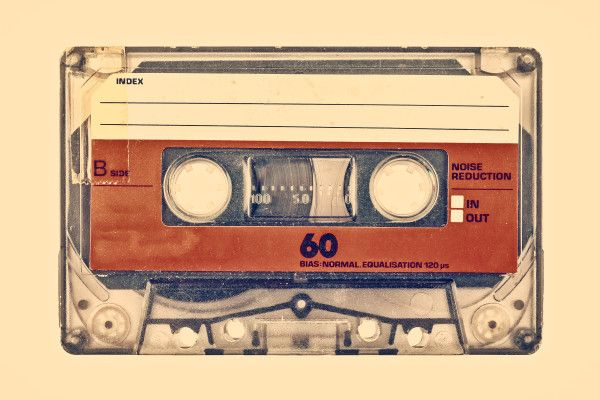 Retro styled image of an old compact cassette
