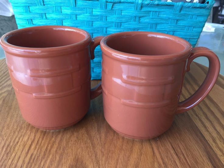 2 Longaberger COFFEE Mugs Woven Traditions Spice or Paprika ? Coffee Cup Set