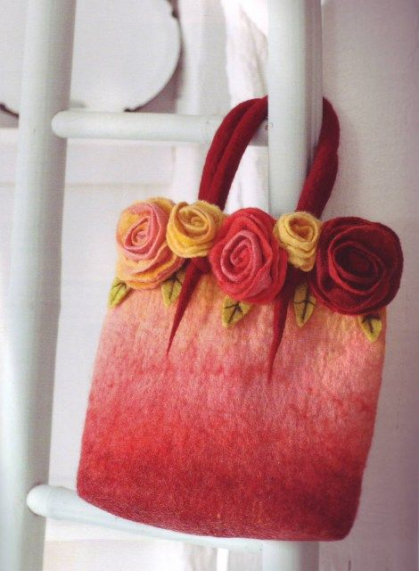 felted handbag Chrochet a piece,wash it and make some flowers ❤️
