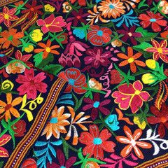 """8' Machine Embroidered """"May Flowers"""" Mexican Tablerunner"""