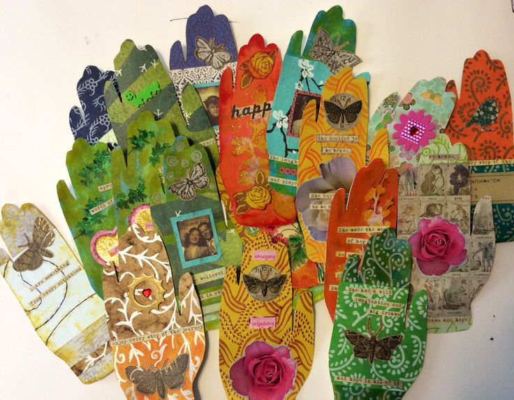 Art Therapy + Happiness Project Global Hand Art Swap is happening! Hands by Cathy Malchiodi about to travel all over the planet.
