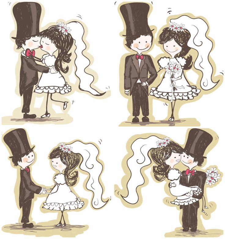 Wedding cartoon bride and groom vector