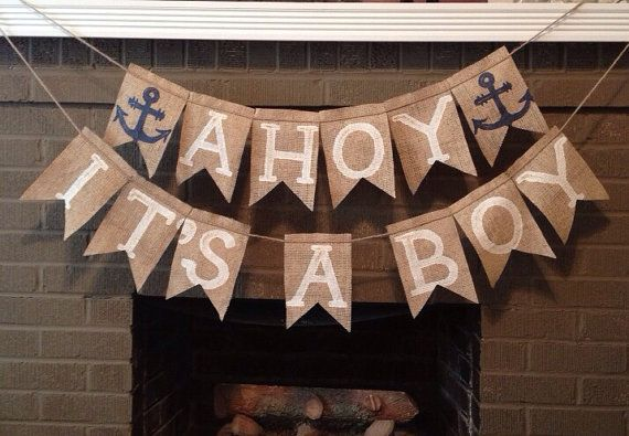 ITS A BOY and AHOY burlap banner, 2 banners, Photo Prop, baby shower prop, nautical theme, anchors - Birthday Bunting - Rustic Burlap on Etsy, $33.99