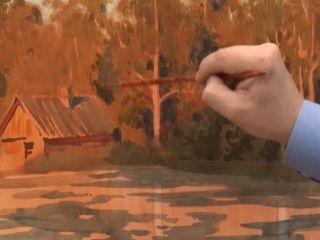 Сергей Андрияка знакомит с техникой написания отражения в воде. Изображение в перспективе отражений в воде или в зеркале, по существу, сводится к построению симметричных изображений, где осью симметрии является прямая, лежащая на отражающей поверхности.
