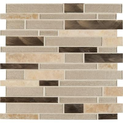 MS International Champagne Toast Interlocking 12 in. x 12 in. x 4 mm Glass/Metal/Stone Mesh-Mounted Mosaic Tile-SGLSMTIL-CHATST - The Home Depot