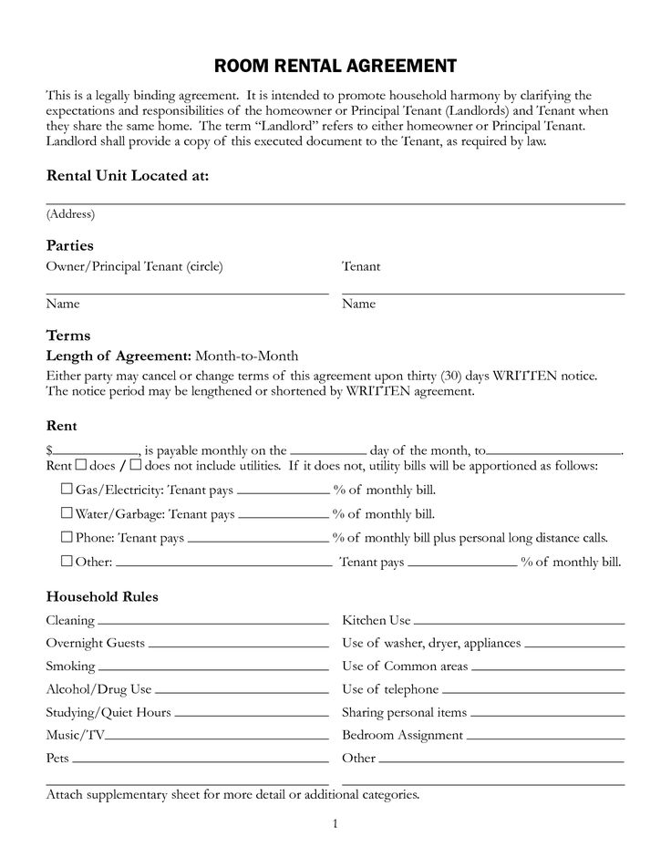 Sample Rental Agreement Printable Sample Room Rental Agreement
