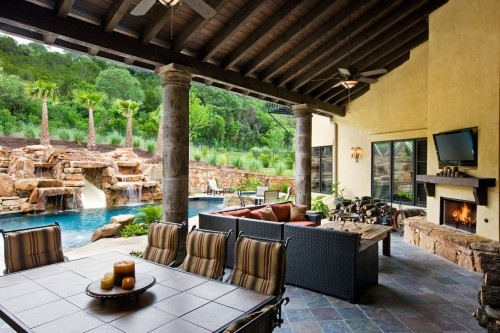 Love This Idea Outdoor Seating Area With A Fireplace And
