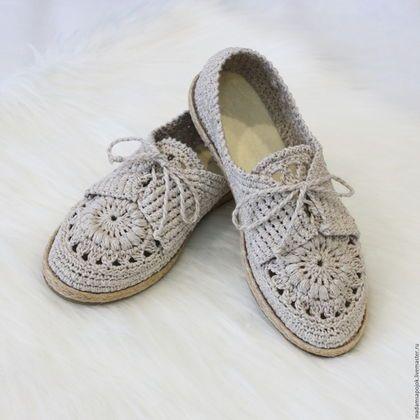 Обувь ручной работы. Ярмарка Мастеров - ручная работа. Купить Мокасины льняные…