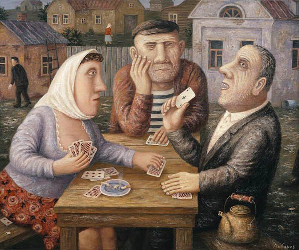 "'Gamblers' (2007) from the series ""The Village Peremilovo, City Pinch"" by Russian painter Vladimir Lyubarov (b.1944). Oil on canvas, 27.5 x 37.375 in. via ArtRussia"
