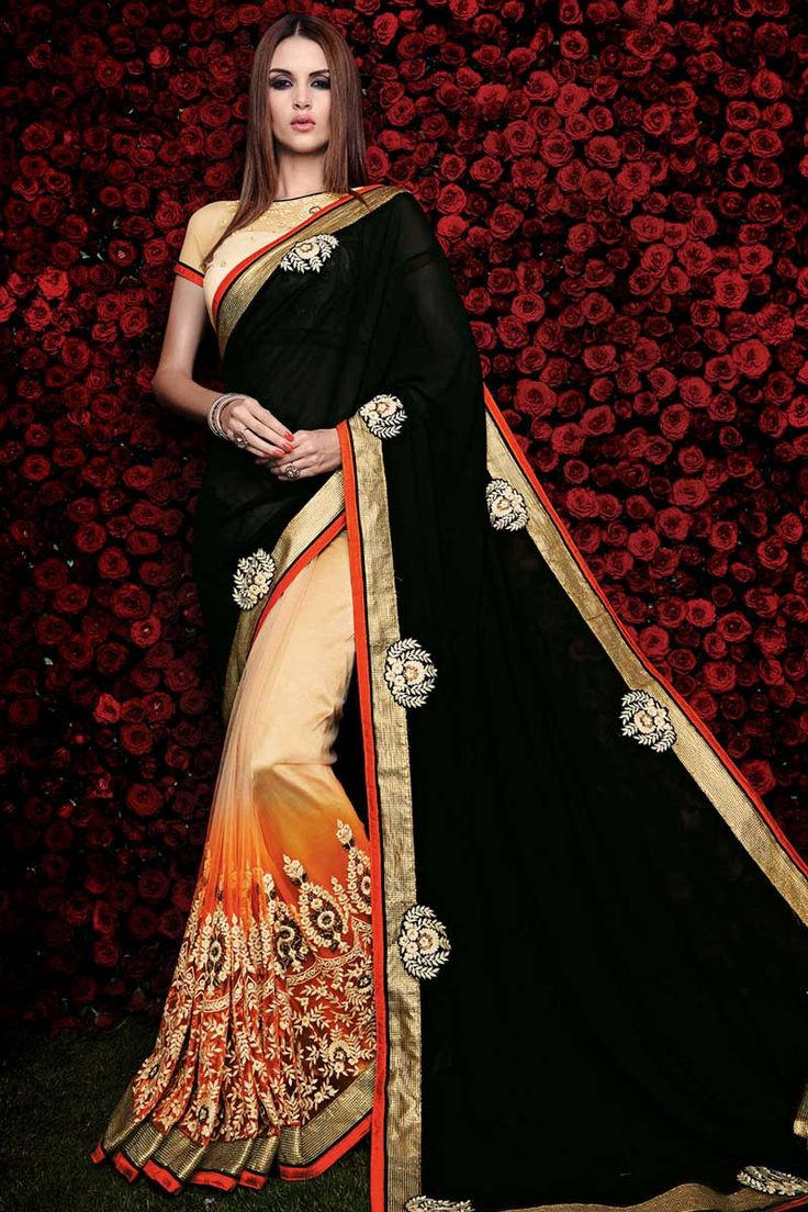 #Andaazfashion presents Cream black and orange georgette saree with art silk blouse http://www.andaazfashion.co.uk/womens/sarees/cream-black-and-orange-georgette-saree-with-art-silk-blouse-dmv8460.html