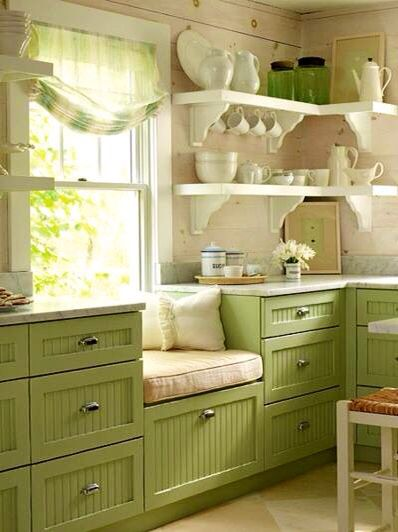 Green kitchen with a Window Seat