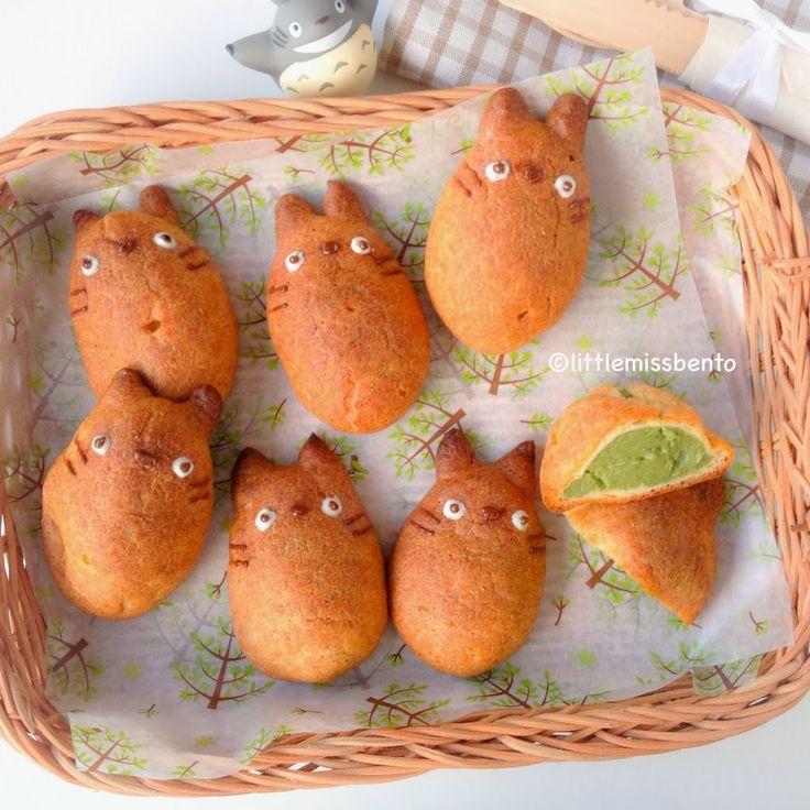 Totoro Matcha Cream Puff Recipe トトロのお抹茶シュークリーム作り方・レシピ - Little Miss Bento