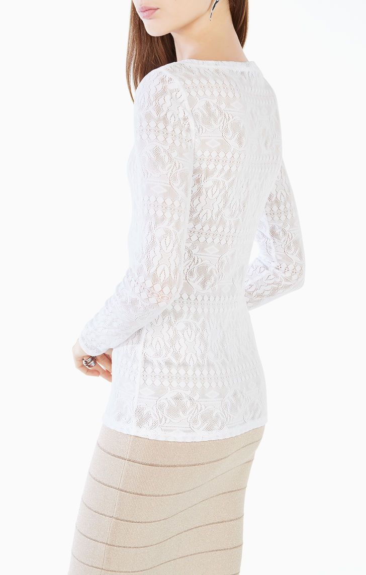 577ad1a4d44257 Wylie Long-Sleeve Lace Top | bcbg shop in 2019 | Lace tops, Lace ...